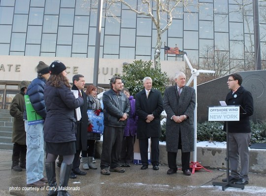 Sierra Club's David Alicea speaks on the steps of the Duryea New York State Office Bulding in Hauppague NY to Deliver the nearly 13,000 signatures telling the Governor to make onshore and offshore wind a priority for New York
