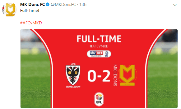 Twitter Reacts To AFC Wimbledon 0-2 MK Dons