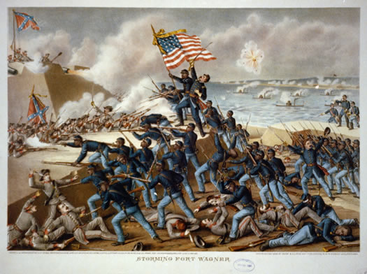 The Storming of Ft Wagner lithograph by Kurz and Allison 1890