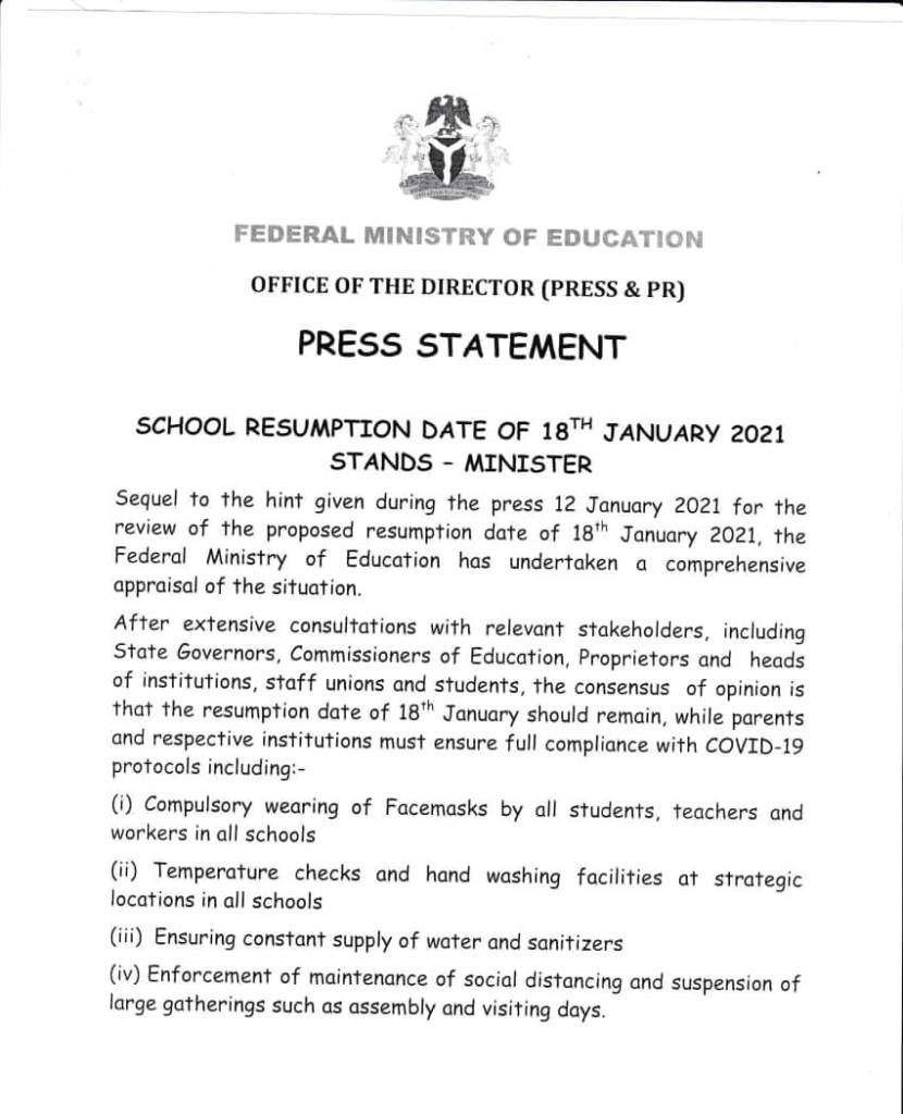 WhatsApp Image 2021 01 14 at 18.15.45 School Resumption Date of 18th January Stands- Education Minister