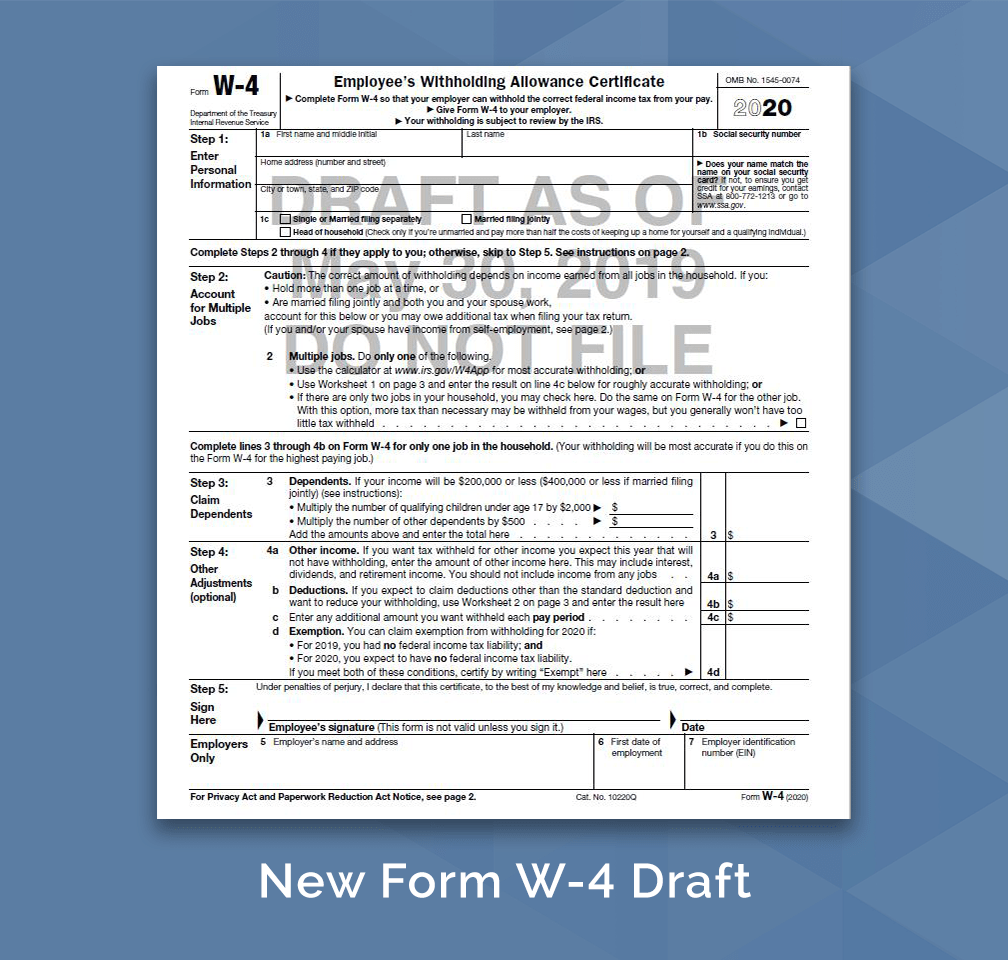 A New Form W-4 For 2020