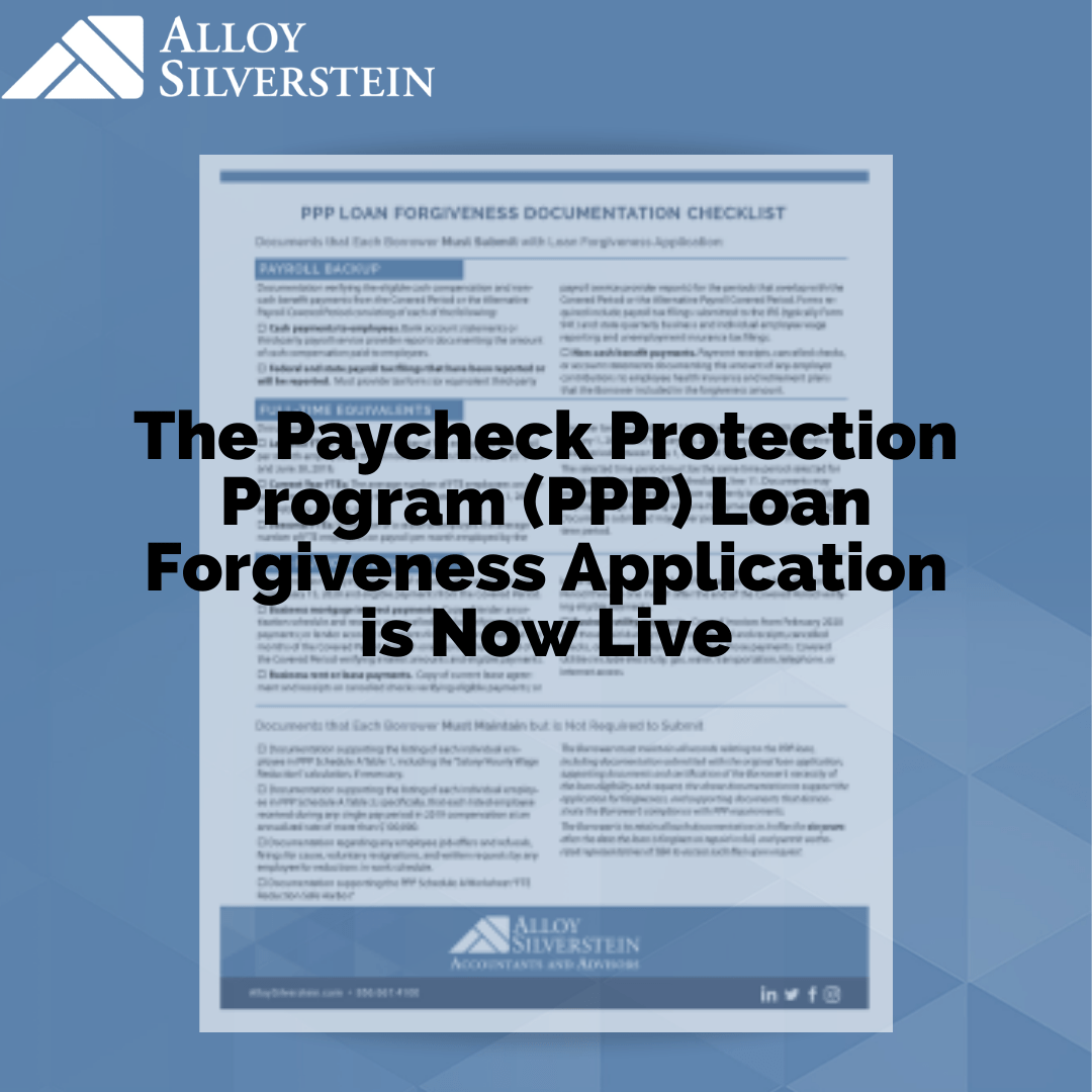 PPP Loan Forgiveness Application Now Live - Alloy Silverstein