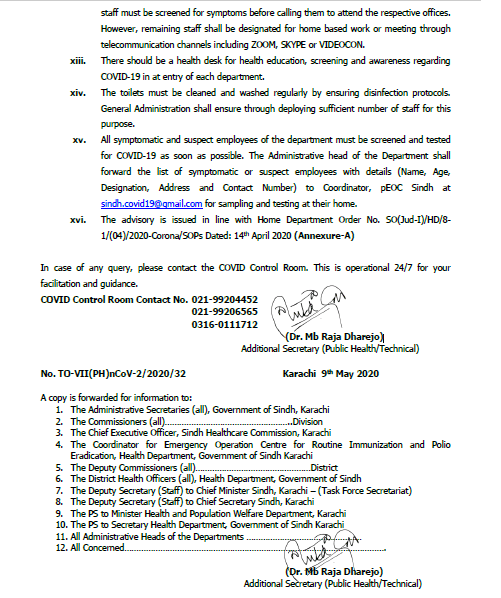 Advisory for Offices Regarding COVID-19 (Corona Virus) | Government of Sindh Health Department | May 09, 2020 - allpaknotifications.com