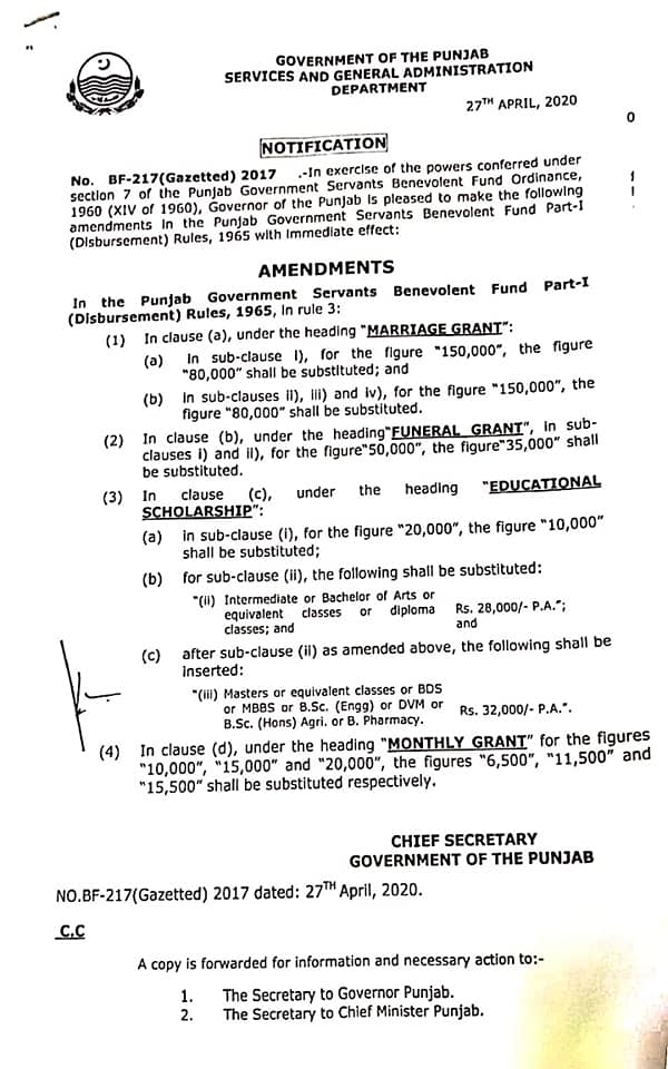 Notification | Amendments in Rule 3 of the Punjab Government Servants Benevolent Fund Part-I (Disbursement) Rules, 1965. Amendments in Marriage Grant, Funeral Grant, Educational Scholarship, Monthly Grant | Government of the Punjab Services and General Administration Department | April 27, 2020 - allpaknotifications.com