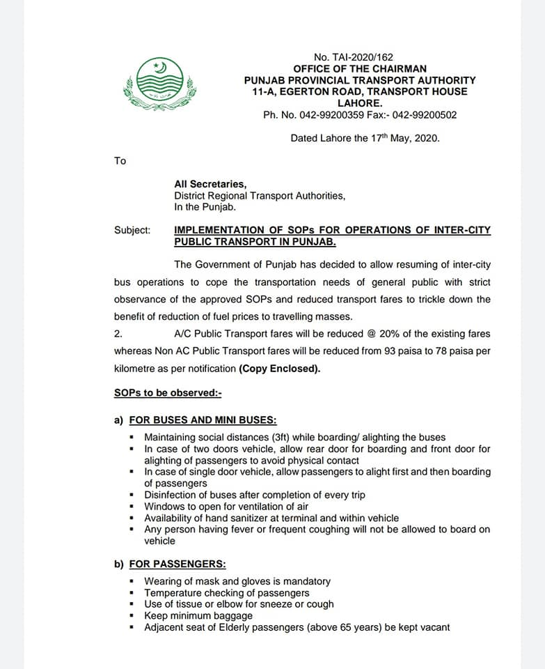 Implementation of SOPs for Operations of Inter-City Public Transport in Punjab | Office of the Chairman Punjab Provincial Transport Authority 11-A, Egerton Road, Transport House Lahore | May 17, 2020 - allpaknotifications.com