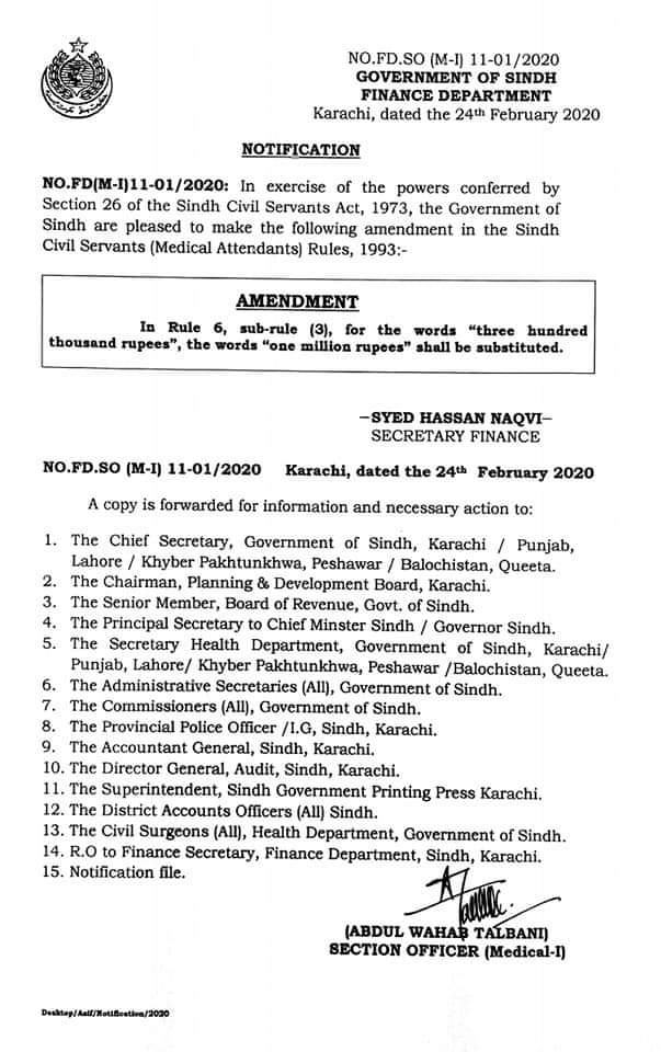Notification | Amendments in Sindh Civil Servants (Medical Attendants) Rules 1993 | Government of Sindh Finance Department | February 24, 2020 - allpaknotifications.com