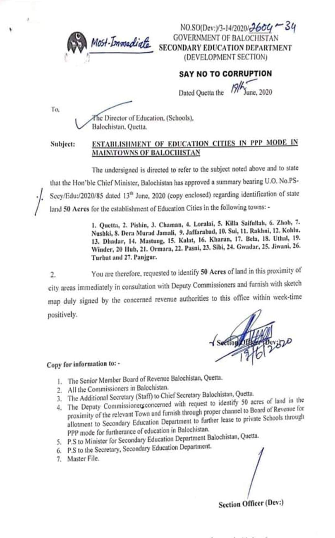 Establishment of Education Cities in PPP Mode in Main Towns of Balochistan | Government of Balochistan Secondary Education Department (Development Section) | June 19, 2020 - allpaknotifications.com