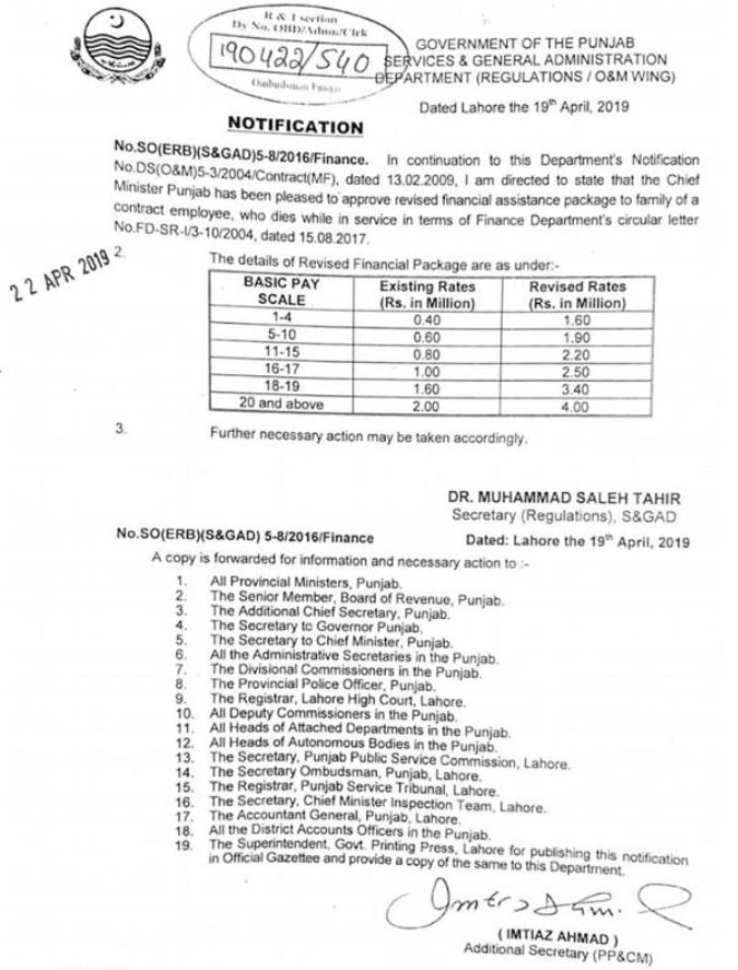 Notification | Revised Financial Assistance Package to Family of a Contract Employee who Dies While in Service | Government of Punjab Services & General Administration Department (Regulation / O&M Wing) | April 19, 2019 - allpaknotifications.com