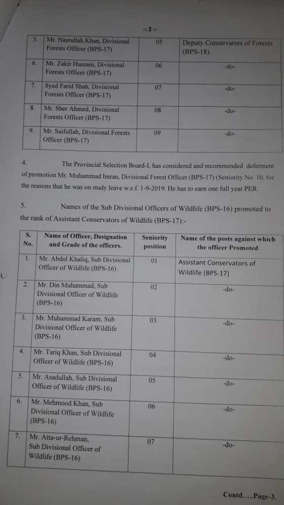 Notification | Promotion of Forest and Wildlife Department Officers | Government of Balochistan Forests & Wildlife Department (Section Admin-I) | June 15, 2020 - allpaknotifications.com