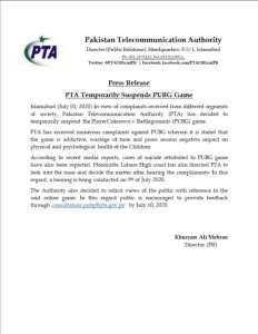 Press Release   PTA Temporarily Suspends PUBG Game   Pakistan Telecommunication Authority - allpaknotifications.com