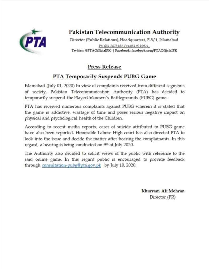 Press Release | PTA Temporarily Suspends PUBG Game | Pakistan Telecommunication Authority - allpaknotifications.com