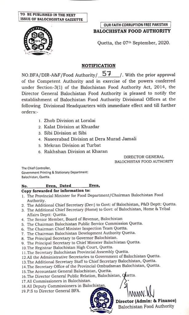 Notification | Establishment of Balochistan Food Authority Divisional Officers at the Following Divisional Headquarters | Balochistan Food Authority | September 07, 2020 - allpaknotifications.com