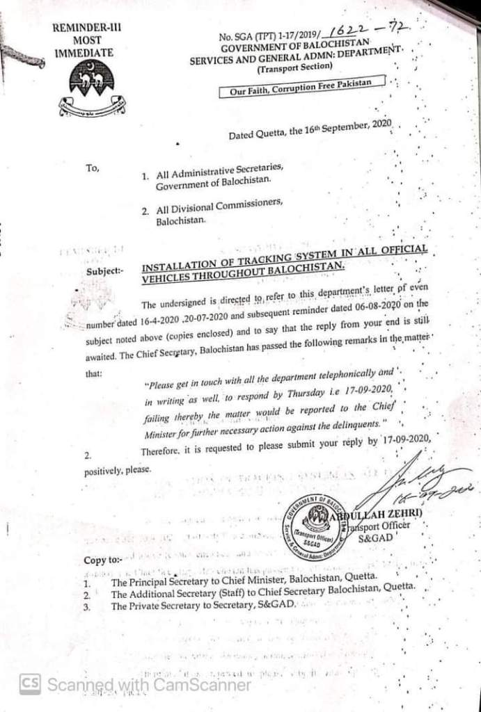 Installation of Tracking System in All Official Vehicles Throughout Balochistan   Government of Balochistan Services and General Admn: Department (Transport Section)   September 16, 2020 - allpaknotifications.com