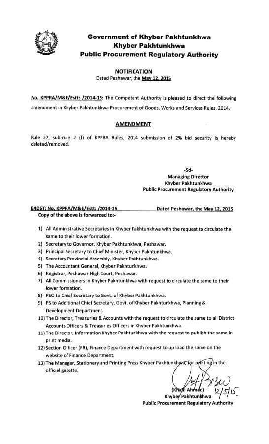 Notification | Amendment in Khyber Pakhtunkhwa Procurement of Goods, Works and Services Rules, 2014 | Government of Khyber Pakhtunkhwa Public Procurement Regulatory Authority | May 12, 2015 - allpaknotifications.com