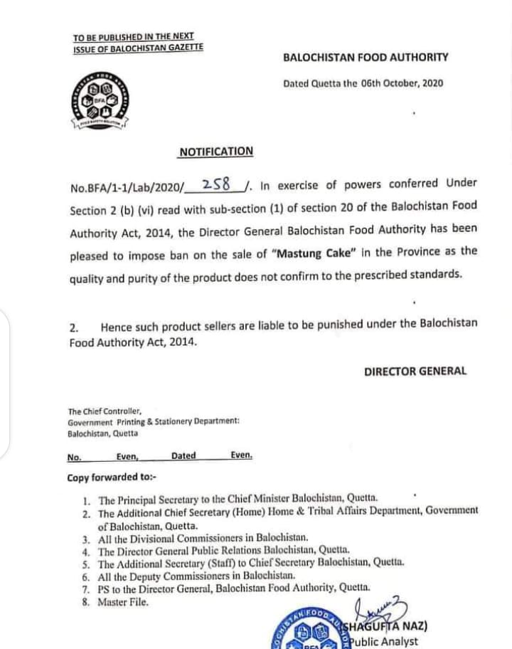 Notification | Ban on the sale of Mastung Cake in the Province | Balochistan Food Authority | October 06, 2020 - allpaknotifications.com