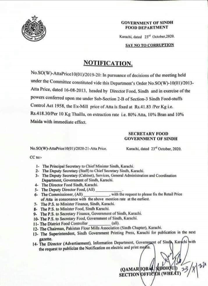 Notification | Fixing of the Ex-Mill Price of Atta | Government of Sindh Food Department | October 23, 2020 - allpaknotifications.com