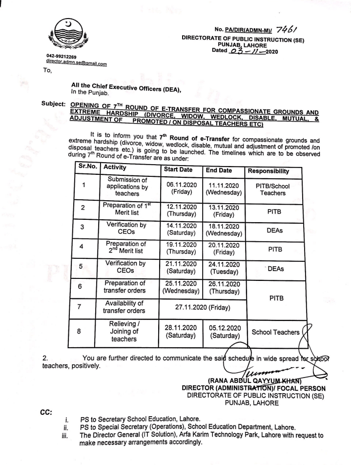 Opening of 7th Round of E-Transfer for Compassionate Grounds and Extreme Hardship (Divorce, Widow, Wedlock, Disable, Mutual, & Adjustment of Promoted/On Disposal Teachers, etc). | Directorate of Public Instruction (SE) Punjab Lahore | November 11, 2020 - allpaknotifications.com