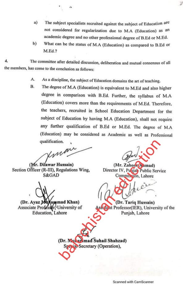 The Degree of M.A (Education) is Equivalent to M.Ed | Government of the Punjab School Education Department | November 11, 2020 - allpaknotifications.com