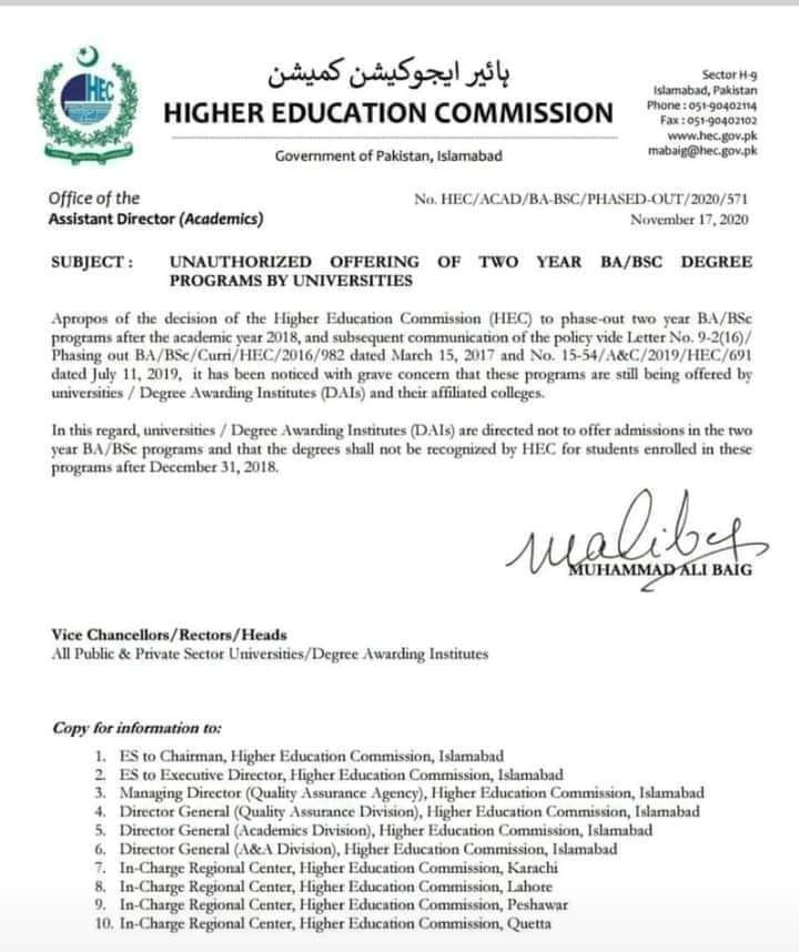 Unauthorized Offering of Two Year BA/BSC Degree Programs by Universities | Higher Education Commission | November 17, 2020 - allpaknotifications.com