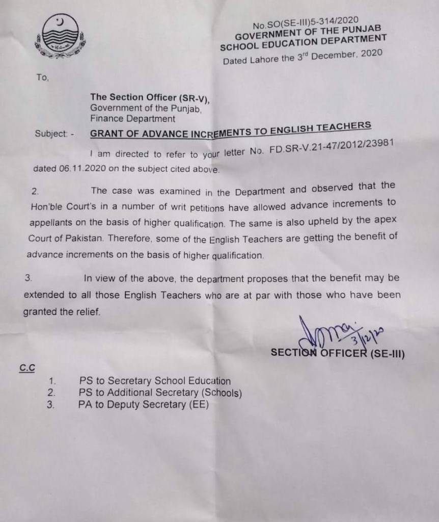 Grant of Advance Increments to English Teachers | Government of the Punjab School Education Department | December 03, 2020 - allpaknotifications.com