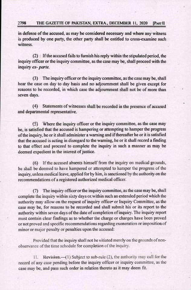 Notification | Civil Servants (Efficiency and Discipline) Rules 2020 | Government of Pakistan Cabinet Secretariat (Establishment Division) | The Gazette of Pakistan | December 11, 2020 - allpaknotifications.com