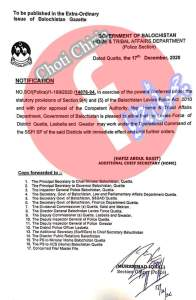 Notification | Levies Force of District Quetta, Lasbella and Gwadar under the Operation Command of SSP/SP | Government of Balochistan Home & Tribal Affairs Department (Police Section) | December 17, 2020 - allpaknotifications.com