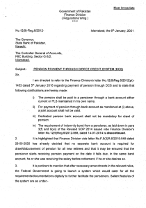 Pension Payment through Direct Credit System (DCS)   Government of Pakistan Finance Division (Regulation Wing)   January 06, 2021 - allpaknotifications.com