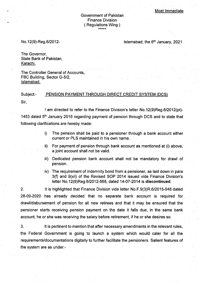 Pension Payment through Direct Credit System (DCS) | Government of Pakistan Finance Division (Regulation Wing) | January 06, 2021 - allpaknotifications.com