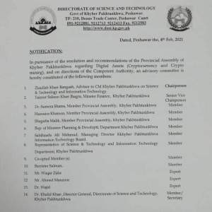 Notification | Constitution of Advisory Committee for Digital Assets (Cryptocurrency and Crypto mining) | Directorate of Science and Technology Government of Khyber Pakhtunkhwa | February 04, 2021 - allpaknotifications.com