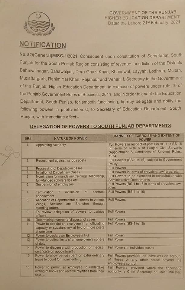 Notification | Powers to Secretary Education Department South Punjab | Government of the Punjab Higher Education Department | February 21, 2021 - allpaknotifications.com