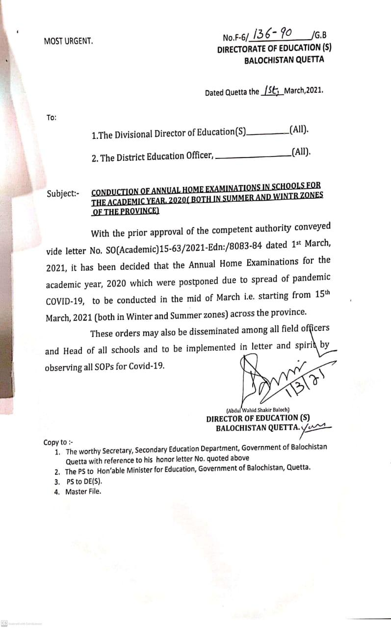 Conduction of Annual Home Examinations in Schools for the Academic Year 2020 (Both in Summer and Winter Zones of the Province) | Directorate of Education (S) Balochistan Quetta | March 01, 2021 - allpaknotifications.com