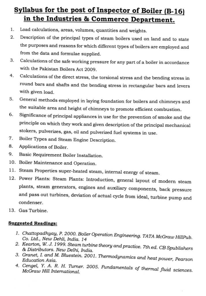 Syllabus for the Post of Inspector of Boiler (B-16) in the Industries & Commerce Department - allpaknotifications.com