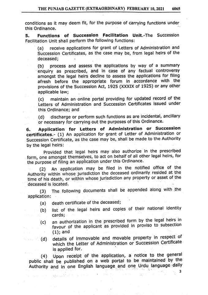 Notification   The Punjab Letters of Administration and Succession Certificates Ordinance 2021   The Punjab Gazette   Government of the Punjab Law and Parliamentary Affairs Department   February 10, 2021 - allpaknotifications.com