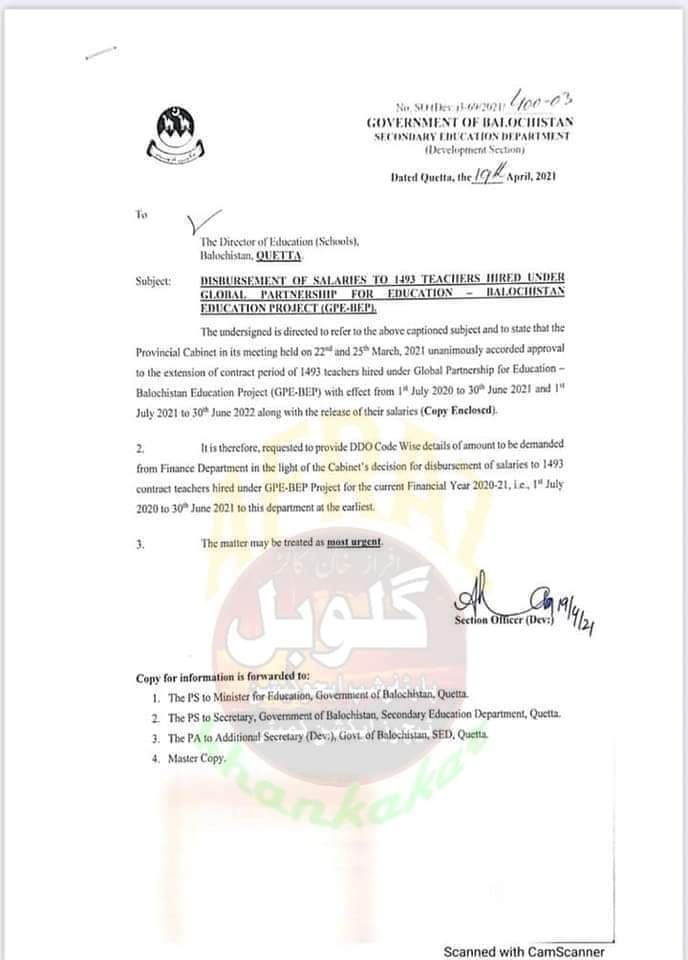 Disbursement of Salaries to 1493 Teachers Hired Under Global Partnership for Education - Balochistan Education Project (GPE-BEP) | Government of Balochistan Secondary Education Department | April 19, 2021 - allpaknotifications.com