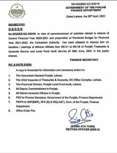 Order | Ban on Transfer / Posting of Officers / Officials from BS-01 to BS-18 | Government of the Punjab Finance Department | Lahore 09, 2021 - allpaknotifications.com