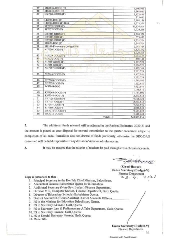 Release of Funds Amounting to Rs. 345,863,616/- for Disbursement of Salaries to 1493 Teachers Hired Under Global Partnership for Education-Balochistan Education Project (GPE-BEP) | Government of Balochistan Finance Department | April 23, 2021 - allpaknotifications.com