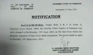 Summer Vacation of Supreme Court of Pakistan | May 07, 2021 - allpaknotifications.com