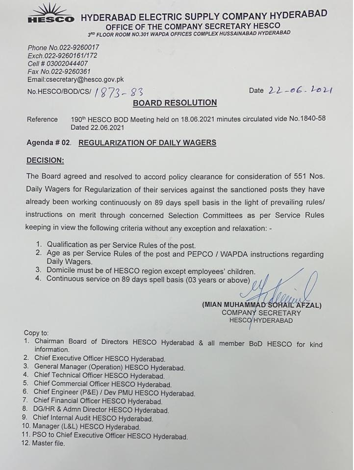 Regularization of Daily Wagers | Hyderabad Electric Supply Company (HESCO) | Decision of the Board Resolution | June 22, 2021 - allpaknotifications.com