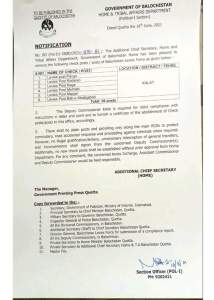 Notification | Removal of Check Posts / Posts of Balochistan Levies in District Khuzdar, Mastung, Surab and Kalat | Government of Balochistan Home & Tribal Affairs Department (Political-I Section) | June 16, 2021 - allpaknotifications.com
