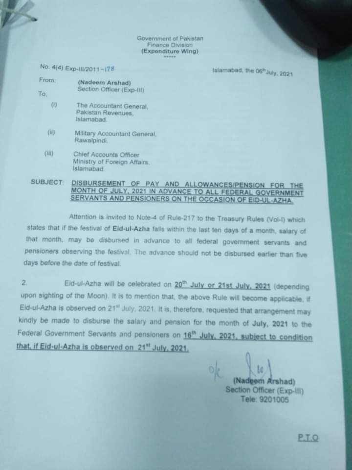 Disbursement of Pay and Allowances / Pension for the Month of July 2021, in Advance, on Account of Eid-Ul-Azha to All Federal Government Employees / Pensioners - allpaknotifications.com