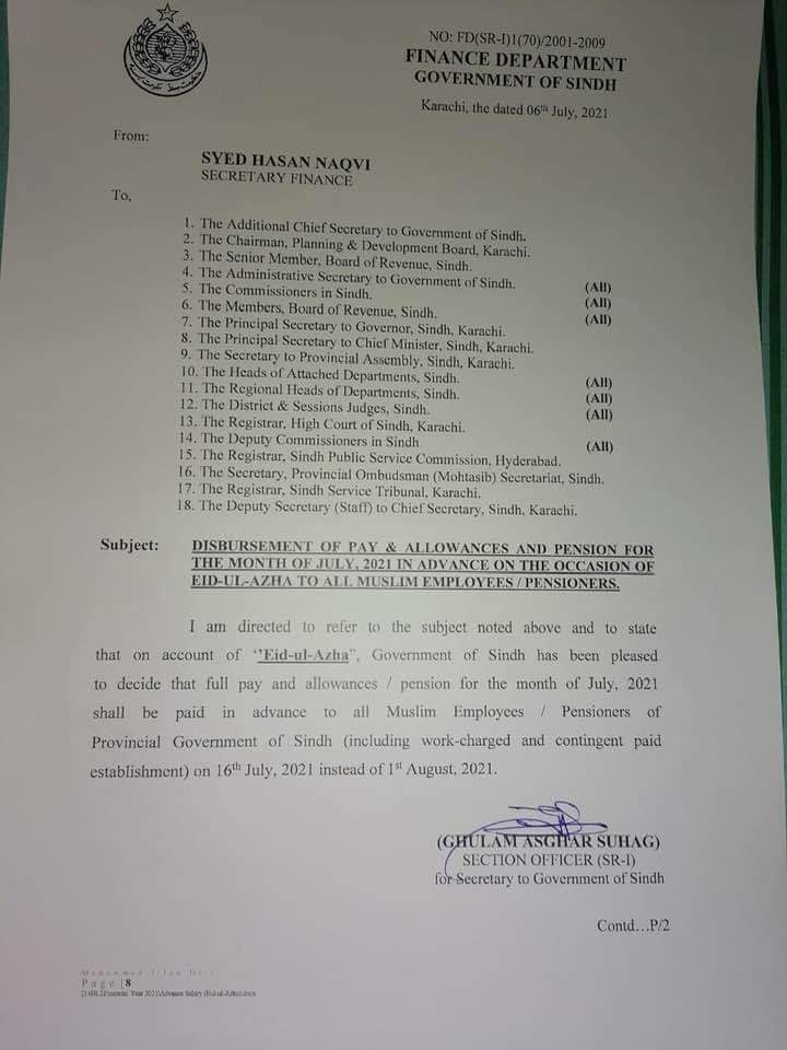 Disbursement of Pay and Allowances / Pension for the Month of July 2021, in Advance, on Account of Eid-Ul-Azha to All Government Employees / Pensioners   Finance Department Government of Sindh   July 06, 2021 - allpaknotifications.com