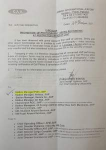 Circular | Prohibition of Photography / Video Recording at Restricted Areas of JIAP (Jinnah International Airport Pakistan) | August 27, 2021 - allpaknotifications.com
