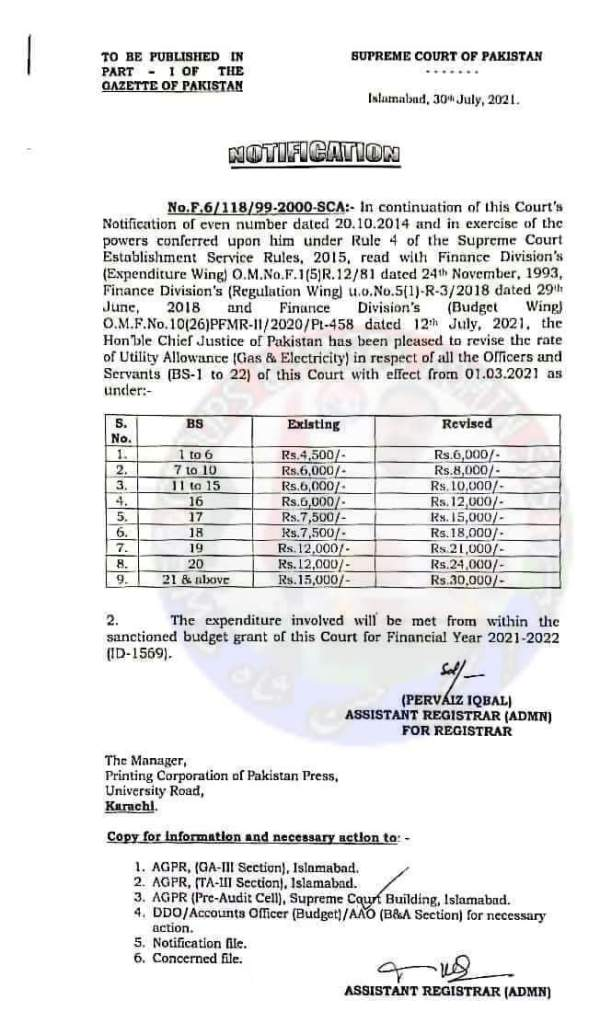 Notification | Revision of the Rates of Utility Allowances (Gas & Electricity) in respect of all the Officers and Servants (BS-1 to 22) | Supreme Court of Pakistan | July 30, 2021 - allpaknotifications.com