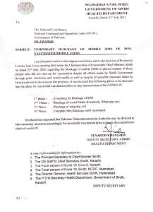 Temporary Blockage of Mobile SIMs of Non-Vaccinated Mobile Users | Government of Sindh Health Department | July 23, 2021 - allpaknotifications.com