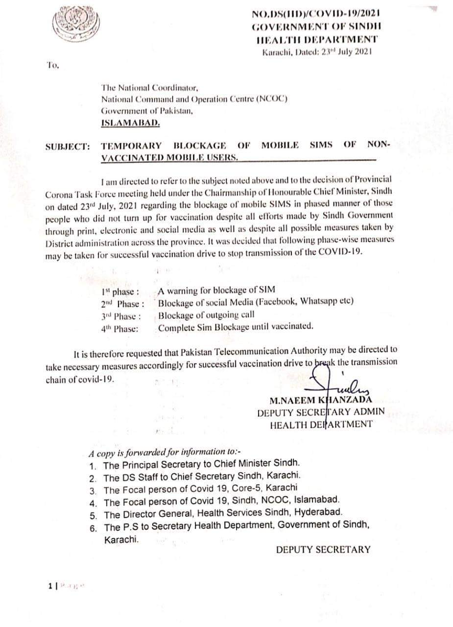 Temporary Blockage of Mobile SIMs of Non-Vaccinated Mobile Users   Government of Sindh Health Department   July 23, 2021 - allpaknotifications.com