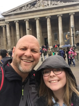 Dad and I outside the British Museum just as it started to rain