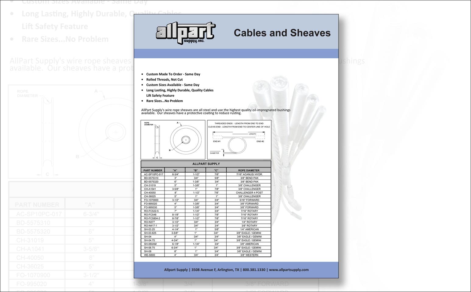 Bendpak Lift Wiring 19 Diagram Images Diagrams Car Hoist Allpartflyers Cables Sheavesfit15462c961 Parts Auto