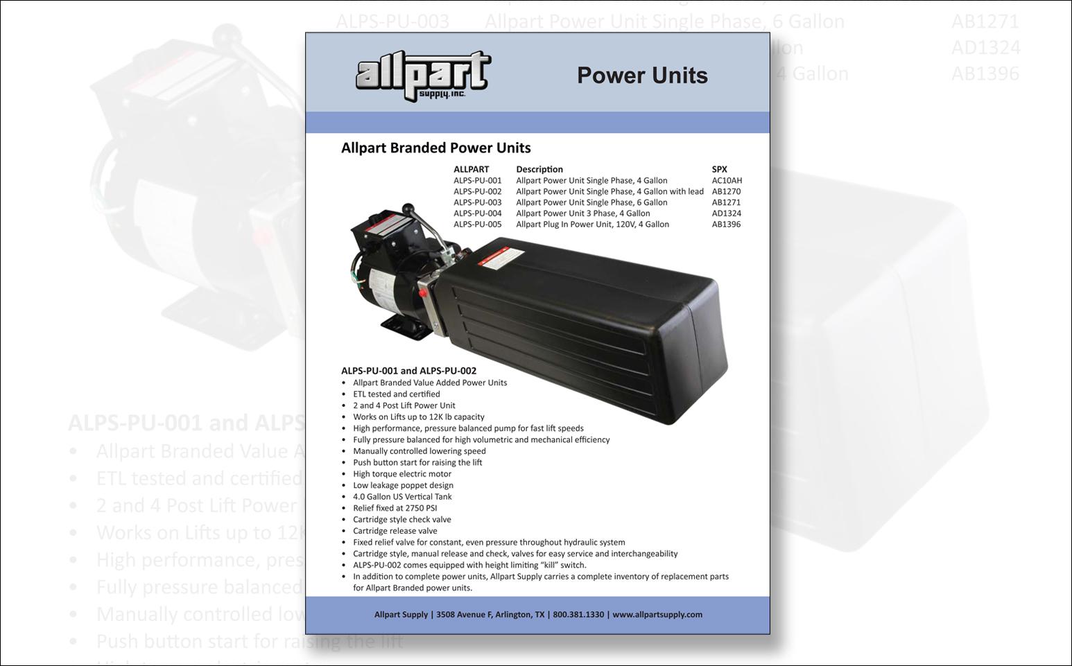 Lift Power Units Hydraulic Auto Hydraulics Parts Waltco Pump Wiring Diagram Catalog Pdf