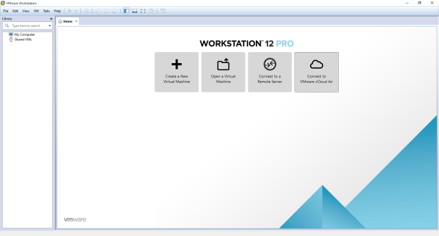 VMware Workstation 12 Pro Home Screen