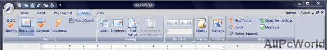 Corel Write ribbon in Corel Office